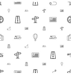 Journey icons pattern seamless white background vector