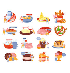 Lactose intolerance icons set vector