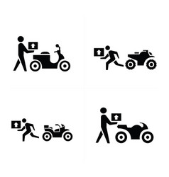 man courier and bike icon vector image