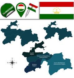 Map of tajikistan with regions vector