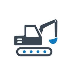 Mini excavator icon vector