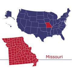 missouri map counties with usa map vector image