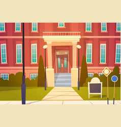Modern school building exterior welcome back to vector