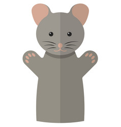 Mouse hand puppet doll for theatre show vector