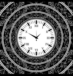 old watch black background vector image