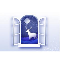 origami window frame deer in paper cut style vector image