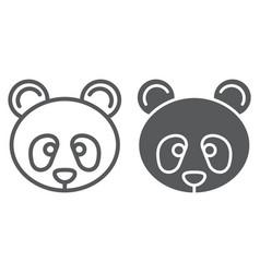 panda line and glyph icon zoo and animal fauna vector image