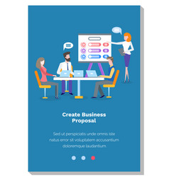 people create business proposal colleagues make vector image
