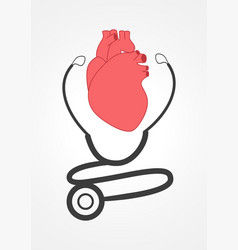 Pictogram of a stethoscope and a heart vector