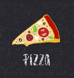 pizza lettering with hand drawn slice pizza vector image