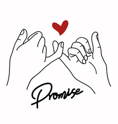 promise outline with red heart sign concept vector image