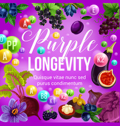 Purple diet and longevity berry and fruit food vector