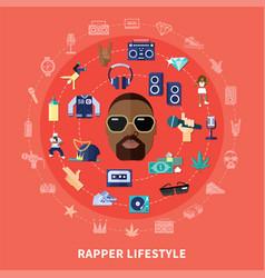 Rapper lifestyle round composition vector