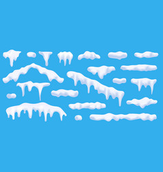 realistic 3d snow caps collection ice caps vector image