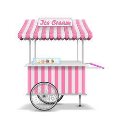 Realistic street food cart with wheels mobile vector