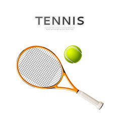 Realistic tennis rackets and ball 3d icon vector