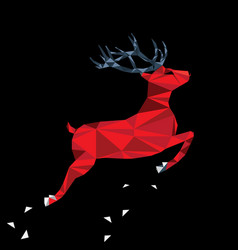 Red deer of triangle shapes vector