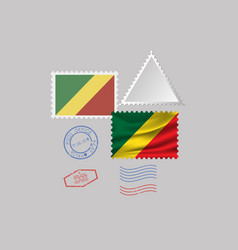 Republic congo flag postage stamp set vector
