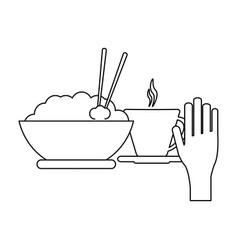 rice bowl and hot drink cup black and white vector image