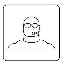 safety guard man icon outline vector image