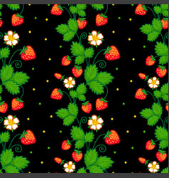 Seamless with of strawberries vector
