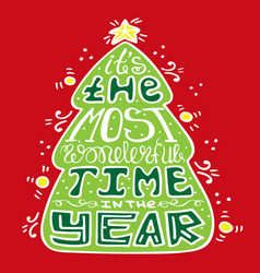 seasonal handdrawn lettering in the christmas vector image