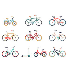 Set of bicycles in a flat style isolated on white vector