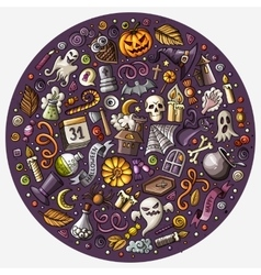 Set of Halloween cartoon objects symbols and vector