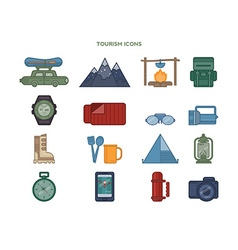 set of icons relating to tourism vector image