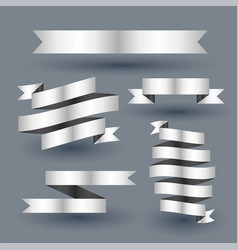 Shiny silver ribbon banner set vector