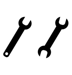 simple wrench spanner key tool symbol open end vector image
