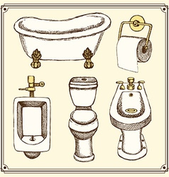 Sketch bathroom and toilet equipment vector image