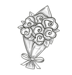 sketch of bouquet vector image