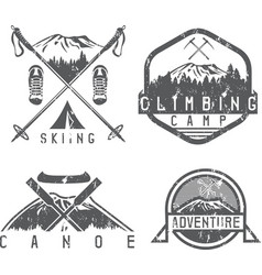 Skiing canoe and adventure camp vintage grunge vector