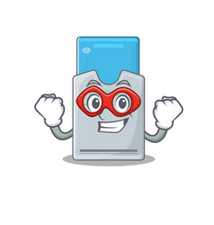 Smiley mascot key card dressed as a super hero vector