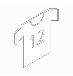 Sports shirt with number icon isometric 3d style vector
