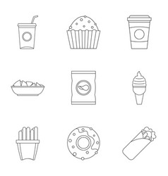 Street food icon set outline style vector