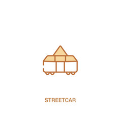 Streetcar concept 2 colored icon simple line vector