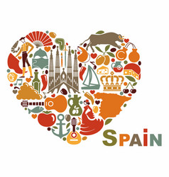 Symbols of spain in heart shape vector