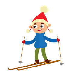teenaged boy with ski cartoon vector image