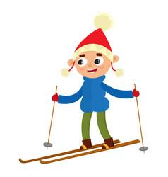 Teenaged boy with ski cartoon vector