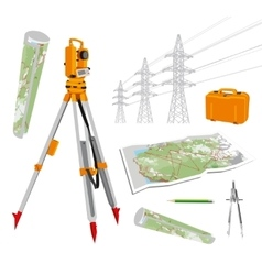 Theodolite maps compasses pencil power lines vector