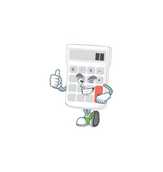Thumbs up cartoon calculator white for calculate vector