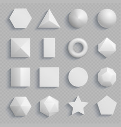 top view realistic math basic shapes isolated on vector image