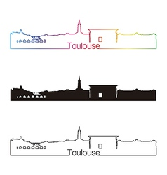 toulouse skyline linear style with rainbow vector image