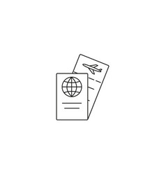 travel ticket and passport icon vector image