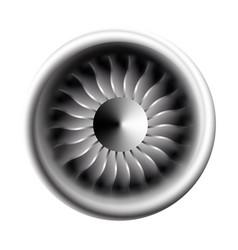 Turbine engine jet for airplane with fan bladesin vector