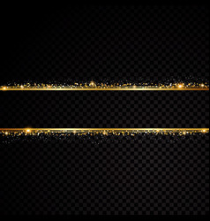 two golden lines with light effects isolated on vector image