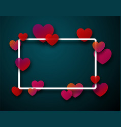 valentine s rectangular card with hearts vector image