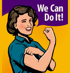 we can do it retro poster retro comic pop art vector image